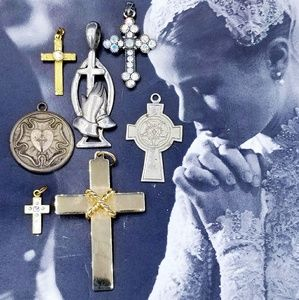 Vintage Cross and Lutheran Religious charm bundle